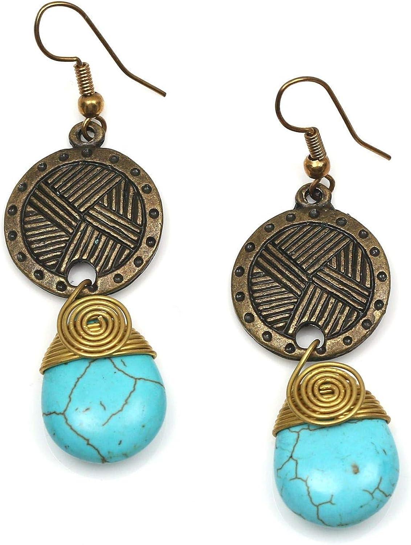 Idin Jewellery – Pendientes de lágrima turquesa con tono dorado en espiral y disco vintage