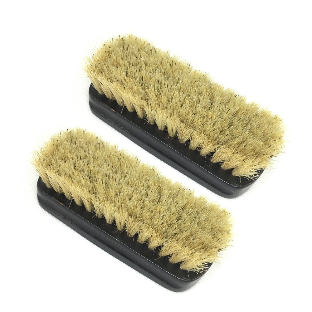 EvaGO Shoe Shine Brushes with Hog Hair Bristles, Polish Applicator (Light Brown, Total 2 Pack)
