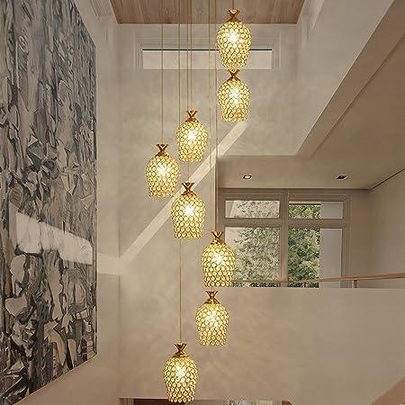 AMOS Chandelier restaurante lámpara de cristal lámparas modernas minimalistas creativas largas lámparas de la escalera (color : Oro): Amazon.es: Hogar