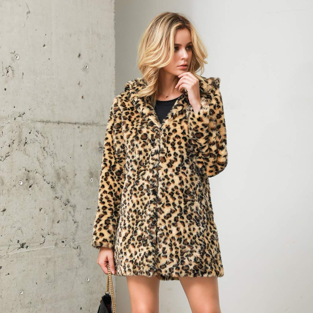 Faux Fur Coats Tops for Women Leopard Tiger Wolf Patterned Long Sleeve Hoodies Winter Casual Jackets Windproof Outerwear