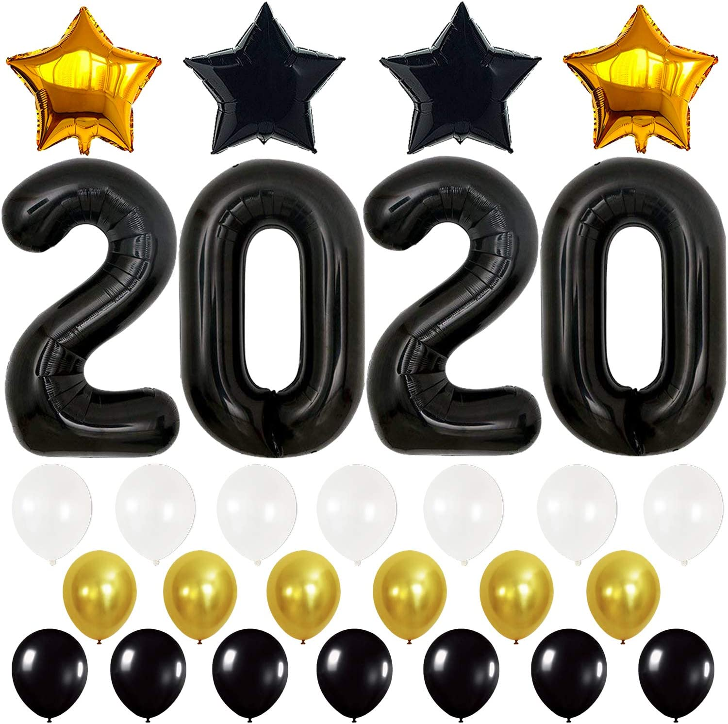 New Years Party Decorations New Years Eve Party Supplies 2019 Large Graduations Party Supplies 2019 2019 Balloons Black and Silver Ballon Kit Silver for New-Year Graduation Decorations