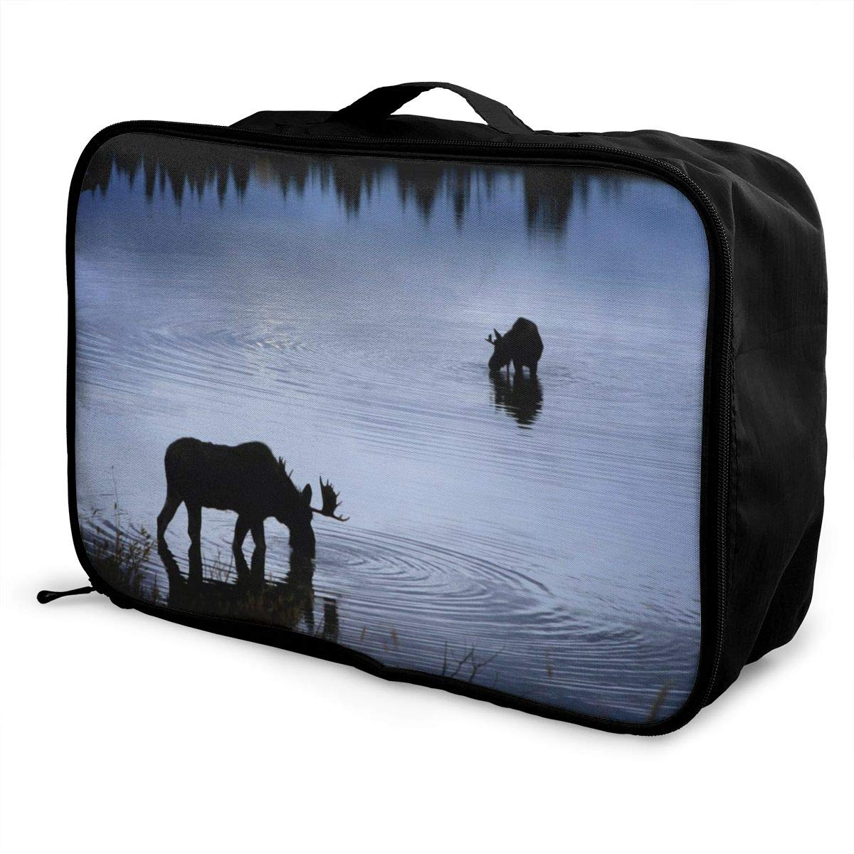 Moose Drinking Water Travel Lightweight Storage Carry Luggage Duffle Tote Bag