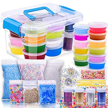 DIY Kit de Slime suministros para niños – aunool claro crujientes Slime Kit para regalos,