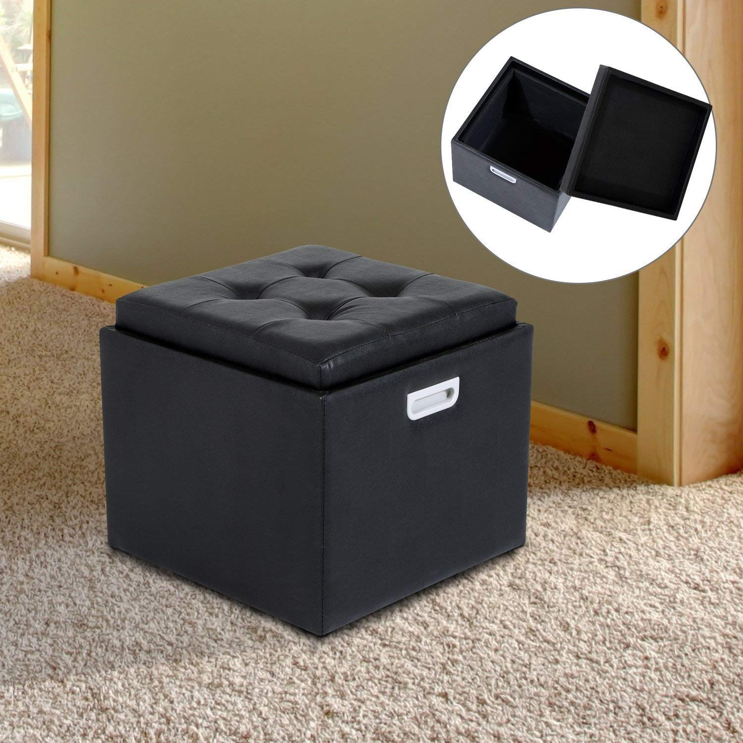 HOMCOM Storage Foot Stool Ottoman PU Faux Leather Footstool Pouffe Footrest Single Seat Cube Box w/ Lid (Black) 833-063BK