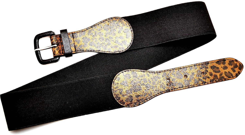 Style & Co. Womens Stretch Belt Leopard Wide Black (S/M)