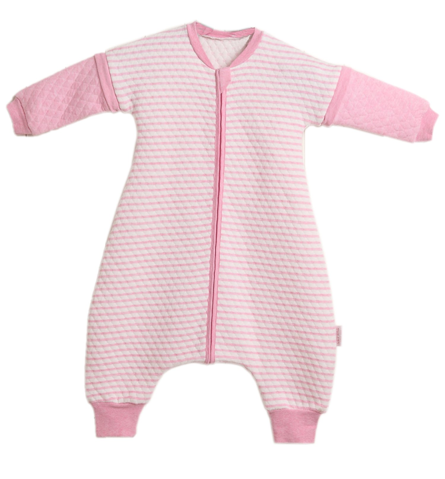 LETTAS Baby Quited Cotton Stripe Detachable Sleeve Sleeping Bag with Feet (M(12-24 Months), Pink)