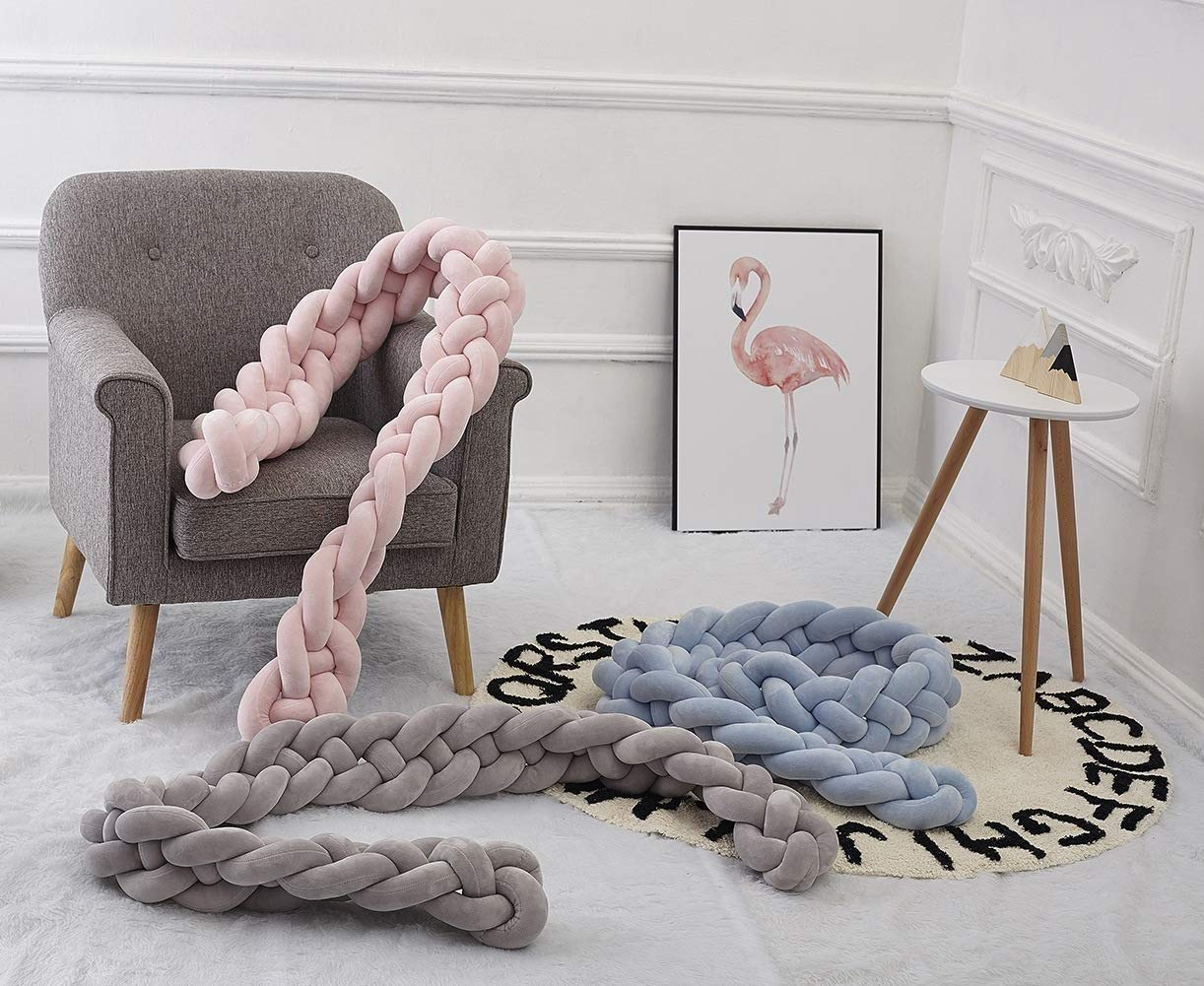 Bed Bumpers Handmade Braided Cot Bumper Baby Head Guard Bumper Knot Braid Pillow Cushion Decorative Pillow for Baby Nursery Crib Bedding-Gray Size : 4M