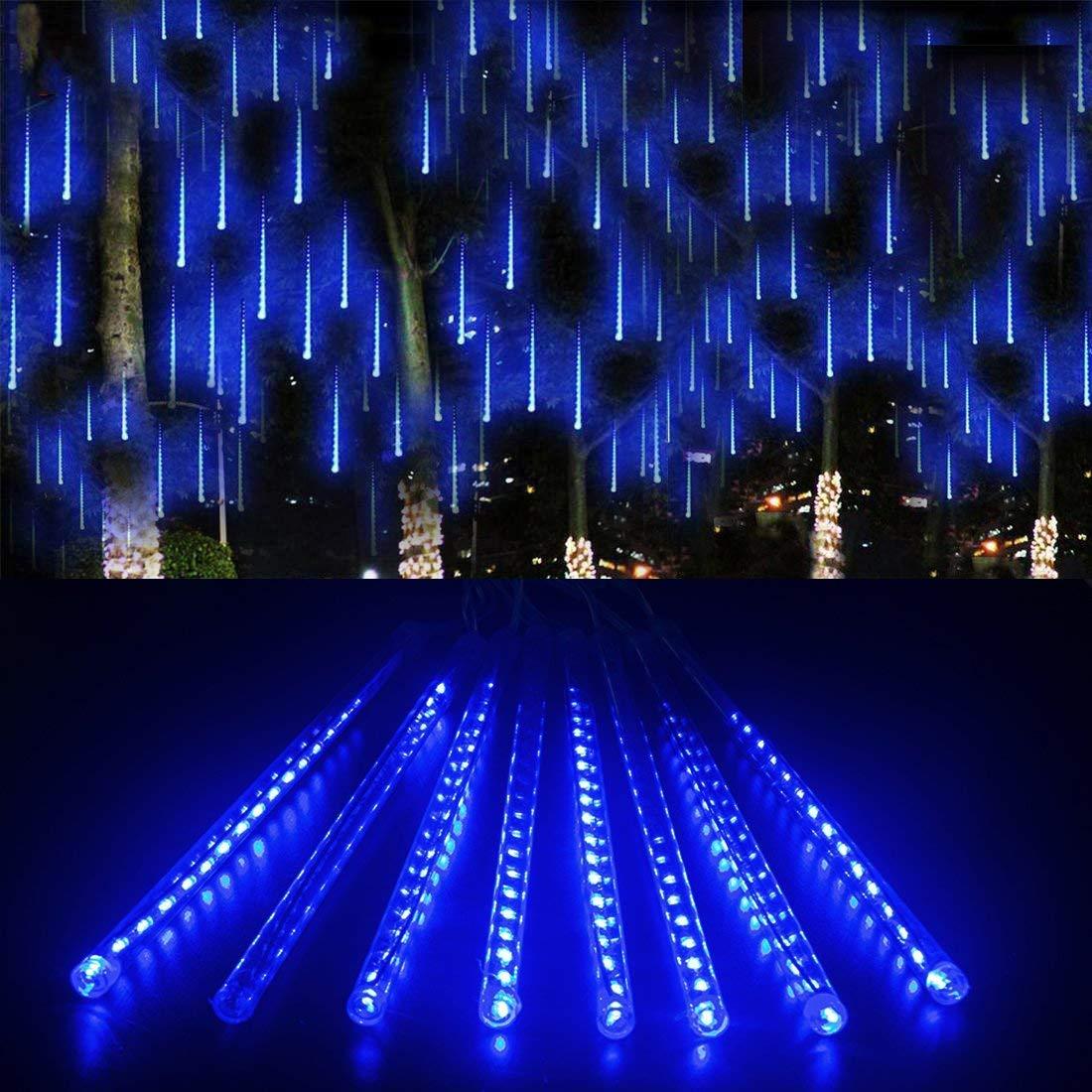 ABelle Blu Meteor Doccia Pioggia Luci Impermeabili Della Corda per Festa di Nozze Decorazione Dell\'Albero di Natale di Natale 30cm 8 tubo Luci Natalizie per Esterni
