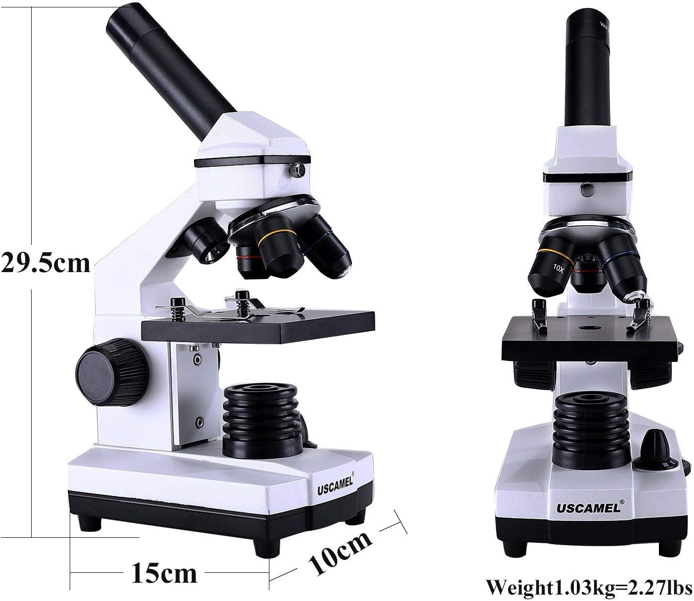 USCAMEL Microscope for Students Biological Slices Included 40-400X All-Optic Glass High-Power for Kids and Children Scientific Research