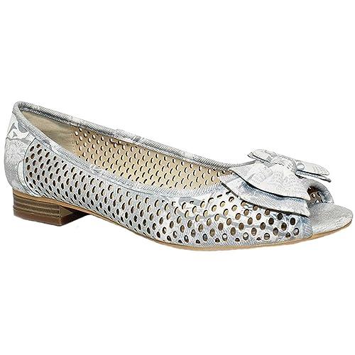 ZAFIRO BOUTIQUE Mujer Punta Abierta Tacón Bajo Zapatillas mujer Lazo Frontal Zapatos De Verano - Gris, 8 UK