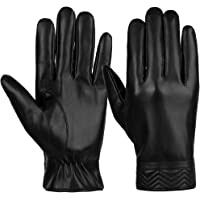 VBIGER Mens Gloves PU Leather Touch Screen Outdoor Winter Gloves