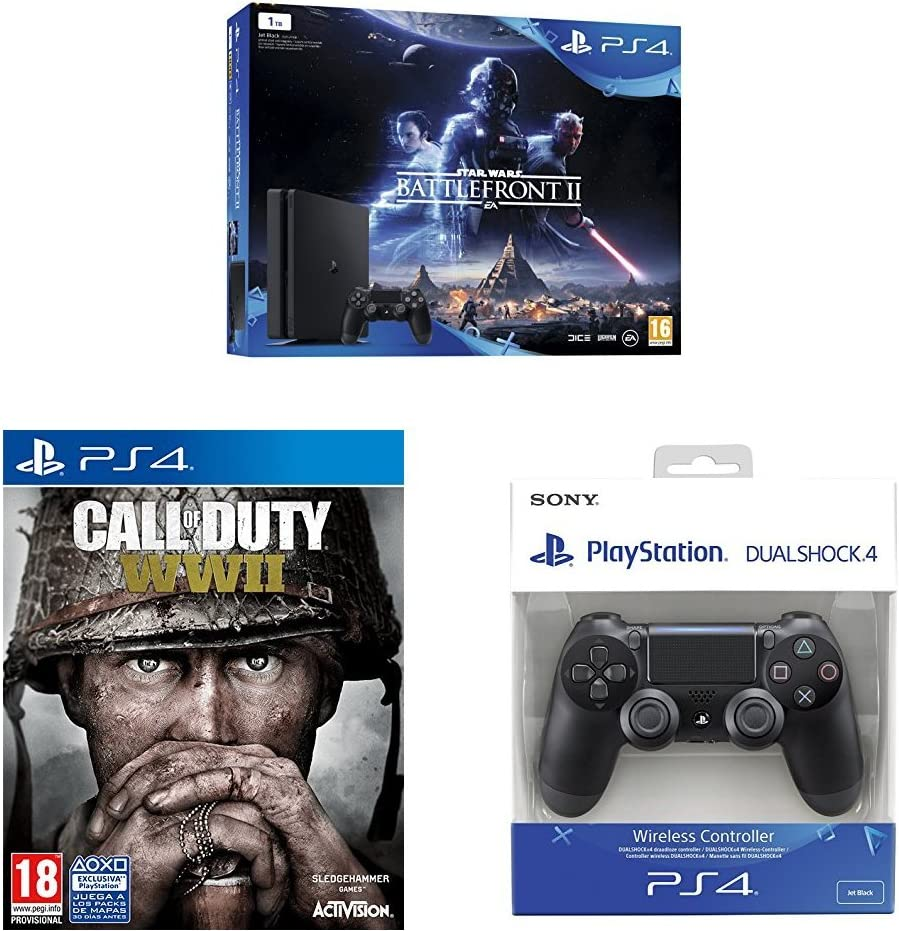 PlayStation 4 (PS4) - Consola 1 TB + Star Wars Battlefront + COD WWII + Dualshock 4 Mando Inalámbrico, Color Negro V2: Amazon.es: Videojuegos