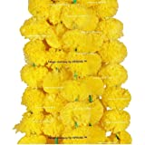 Sphinx Artificial Marigold Fluffy Flowers Garlands For Decoration - Pack Of 5 (Yellow)