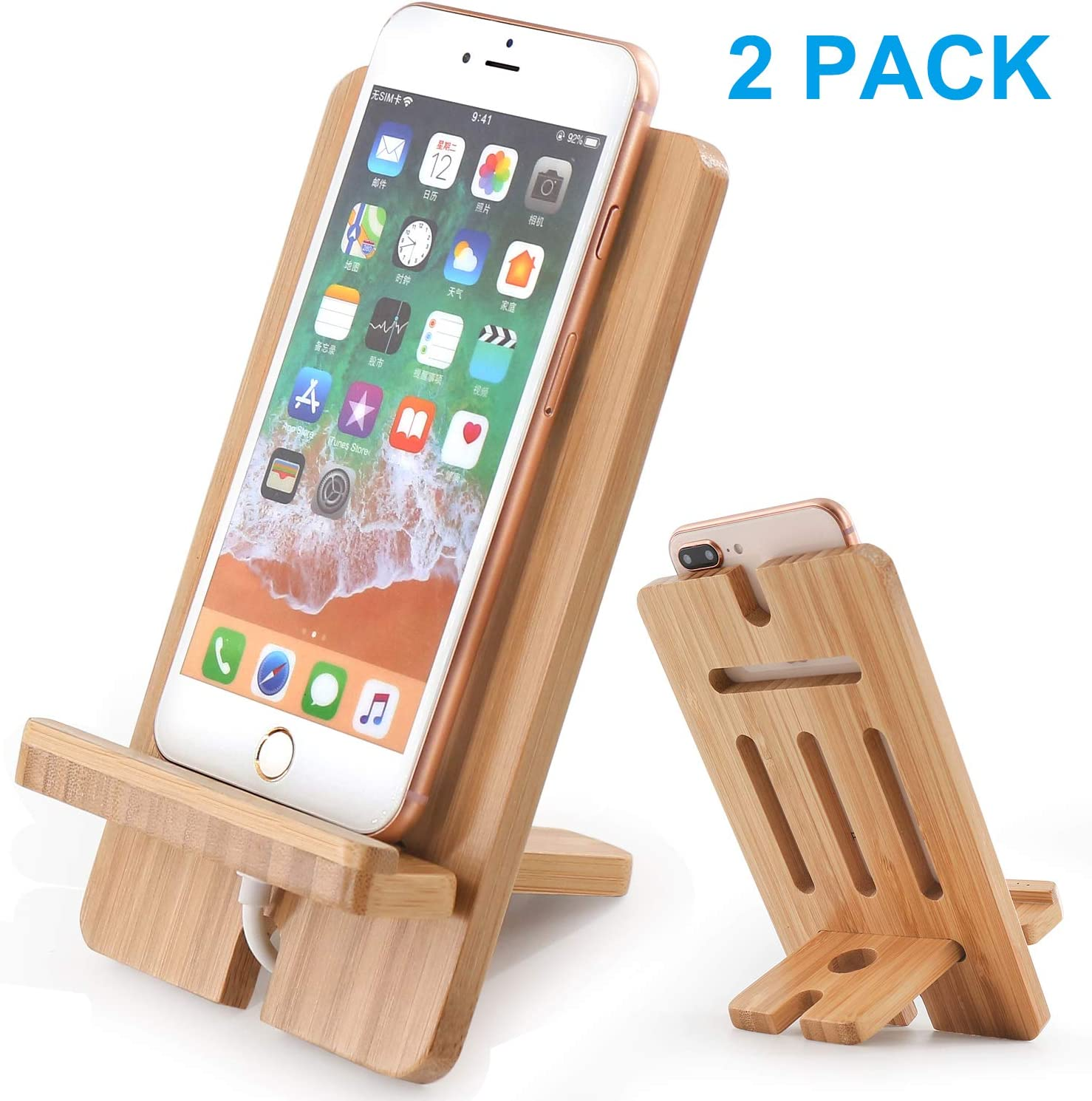 Cell Phone Tablet Stand 2 Pack, Bamboo Wooden Smart Phone Desktop Charging Dock Holder Compatible with Pad, Tablet, Phone 8 Plus X XS Max XR 7 7Plus, All iOS & Android Devices,