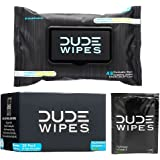 DUDE Wipes Flushable Singles for Travel (30 Individually Wrapped Wipes) & Dispenser Pack (48ct), Unscented with Vitamin-E & Aloe, 100% Biodegradable