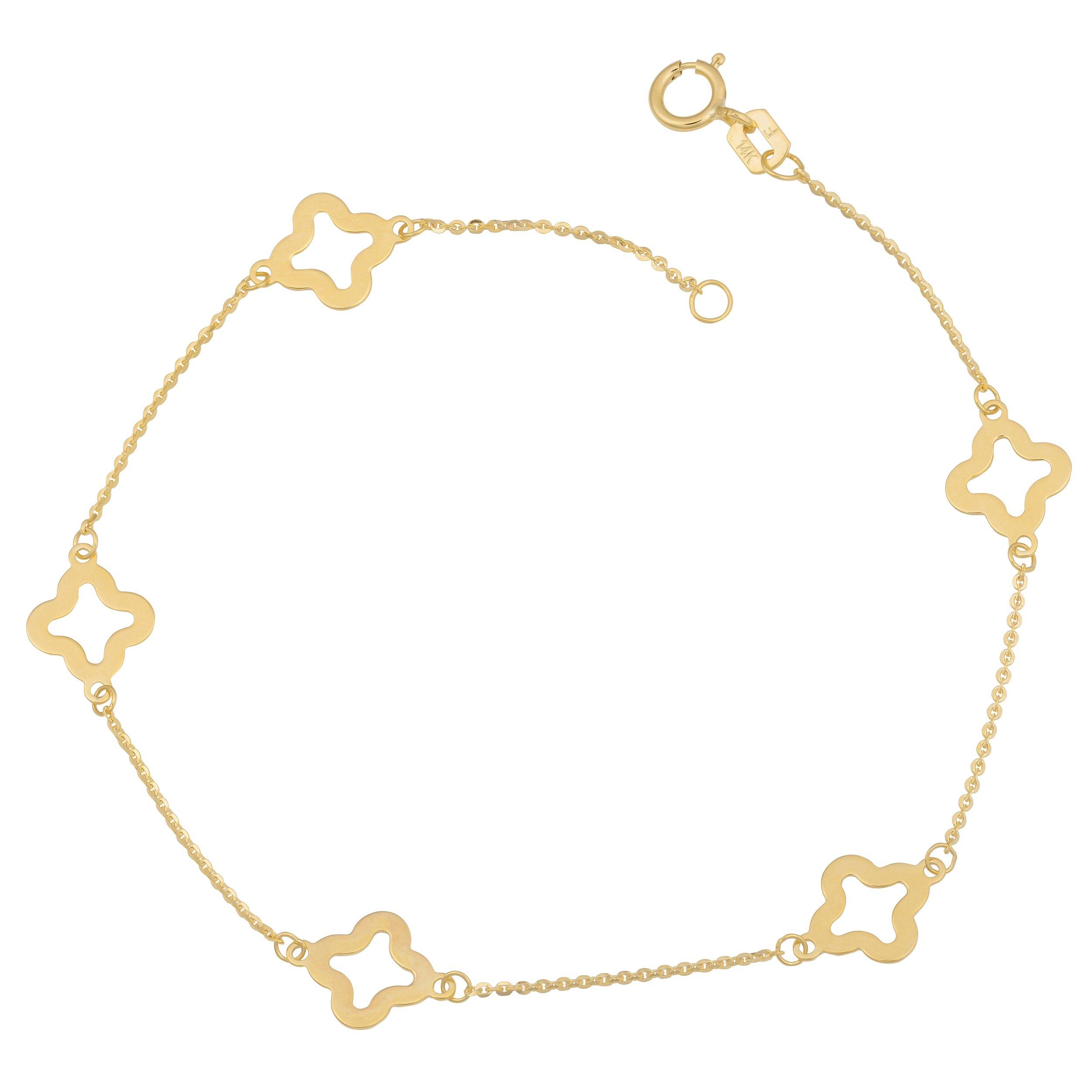 14k Yellow Gold 8mm Clover Flower Bracelet (7.5 inch)