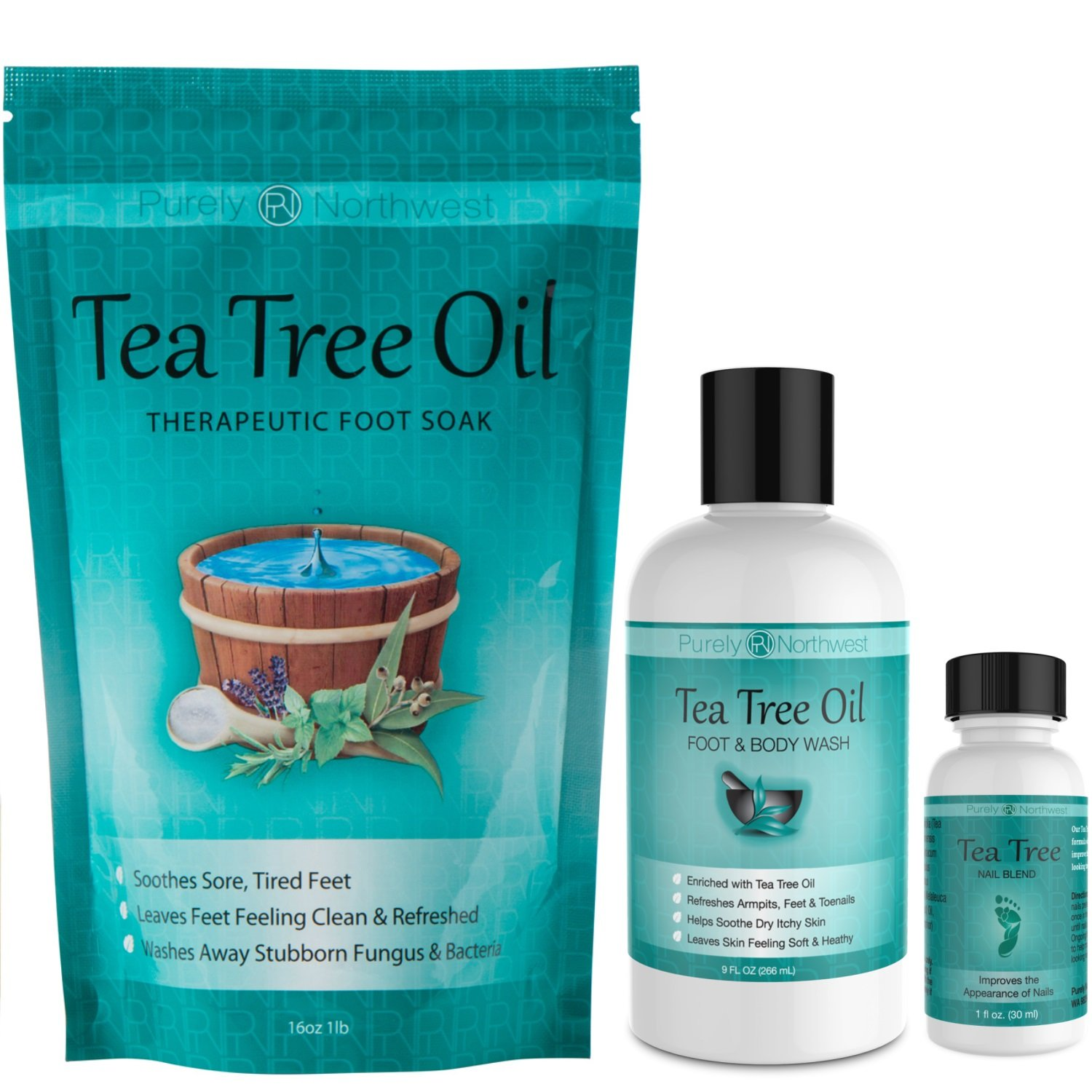 Purely Northwest Foot and Toenail Kit with 16 oz Tea Tree Oil Foot Soak, 9 fl oz Antifungal Tea Tree Oil Foot & Body Wash and 1 fl oz Tea Tree Nail Blend. by Purely Northwest