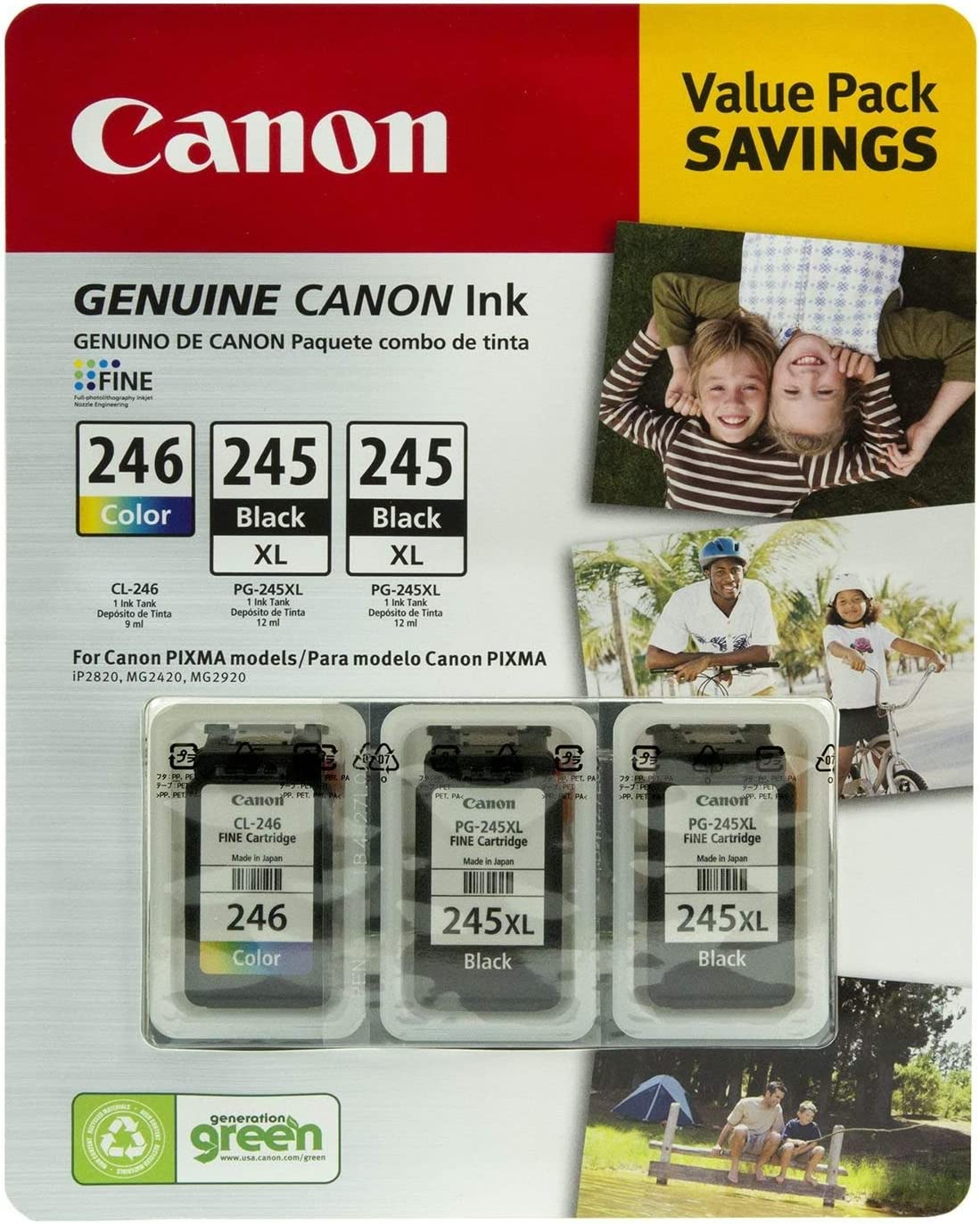2BK+1Color For Canon 245 246 PG-245 CL-246 Ink Cartridge For Canon PIXMA IP2820 IP2850 MG2420 MG2450 MG2520 MG2550 MG2920 Ink jet Printer Cartridge PG245 CL246