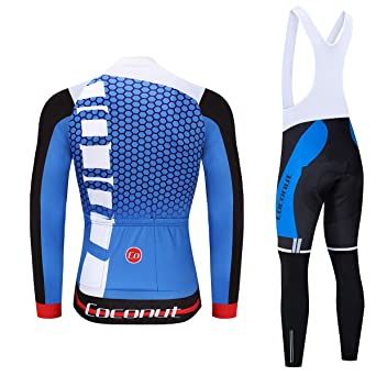 318799abb Amazon.com  Coconut Ropamo Men s Cycling Jersey Suit Long Sleeve Road Bike  Jersey Cycling Sets Tights with Padded  Clothing