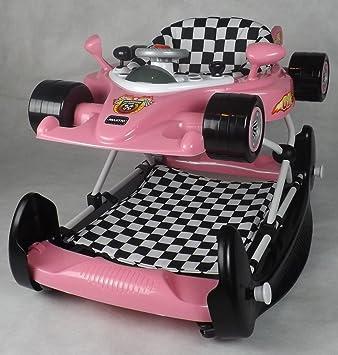 New Pink Racing Car Walker Rocker Activity Toy Musical