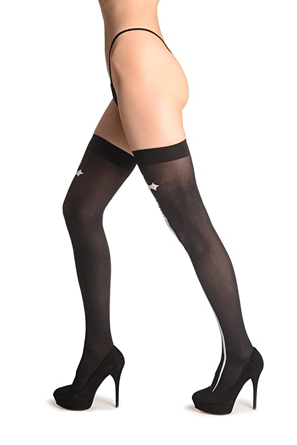 e0989514c80 White Gothic Cross On Black - Stay - Up Thigh High Hold Ups (Stockings) at Amazon  Women's Clothing store: