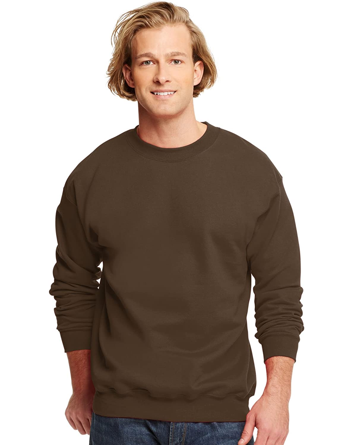Hanes 90//10 Cotton//Poly 10 oz Ultimate Crew Sweatshirt in Dark Chocolate