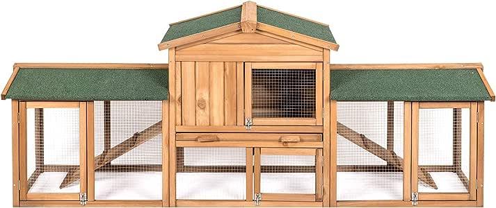 ELIGHTRY Conejeras Madera de Exterior Gallineros Jaula para Conejos Gallinas Cobayas Hamster Animales Pequeños con 2 Pisos 216x53x85.5cm XTL0002hbgn