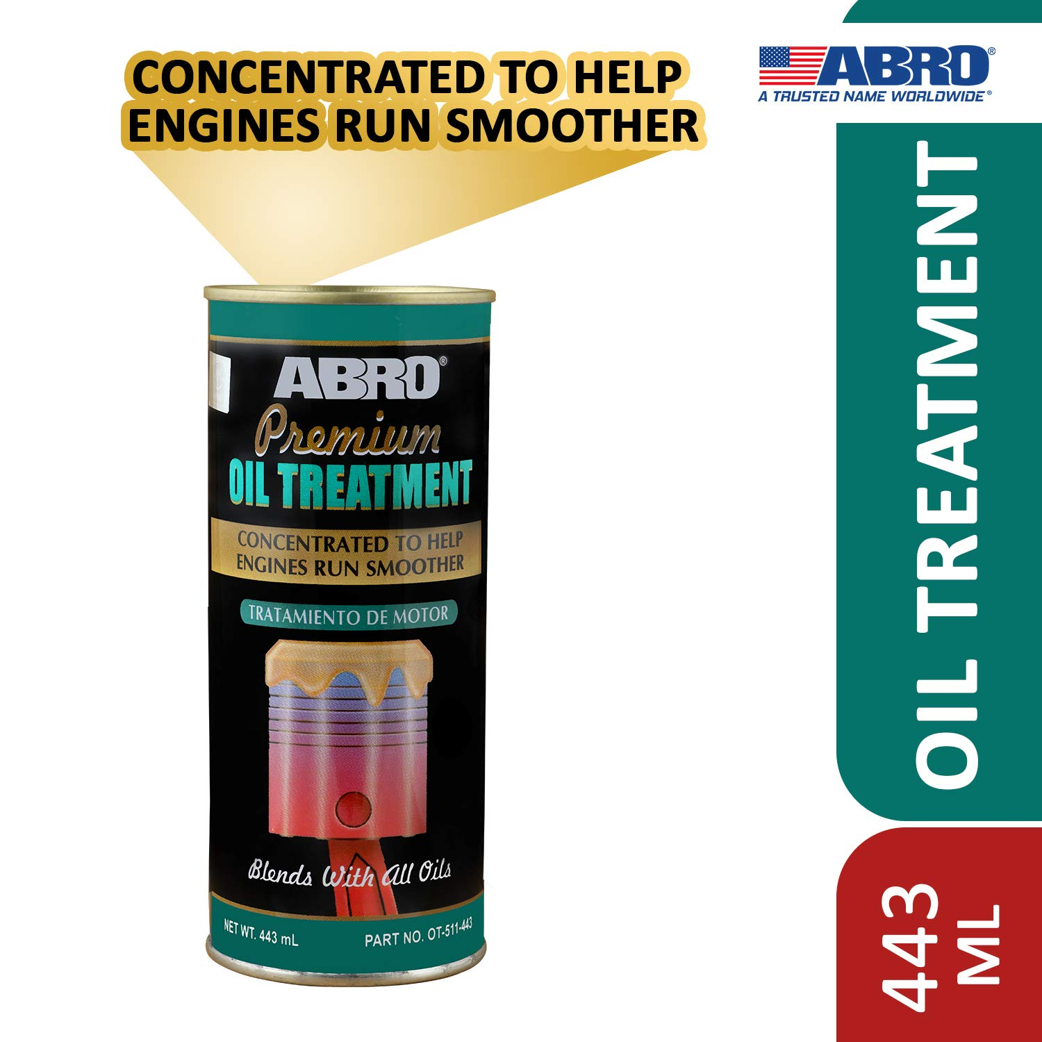 Abro OT-511-443 Petrol & Diesel Engine Oil Treatment Friction & Sound Reducer for Car SUV & Auto (443 ml) product image