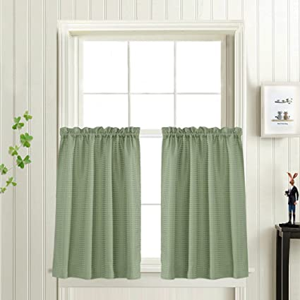 Waffle Weave Textured Tier Curtains For Kitchen Water Proof Window Curtains  For Bathroom (