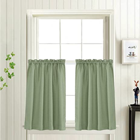Waffle Weave Textured Tier Curtains For Kitchen Water Proof Window Curtains  For Bathroom(
