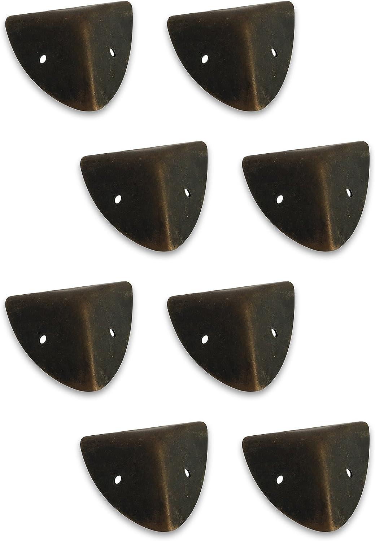 Creative Deco 8 x Caja de Protectores de Esquinas de Metal | 1,6 x 1,6 x 1,6 cm | Marrón Oscuro Decorar Todas Nuestras Cajas de Madera