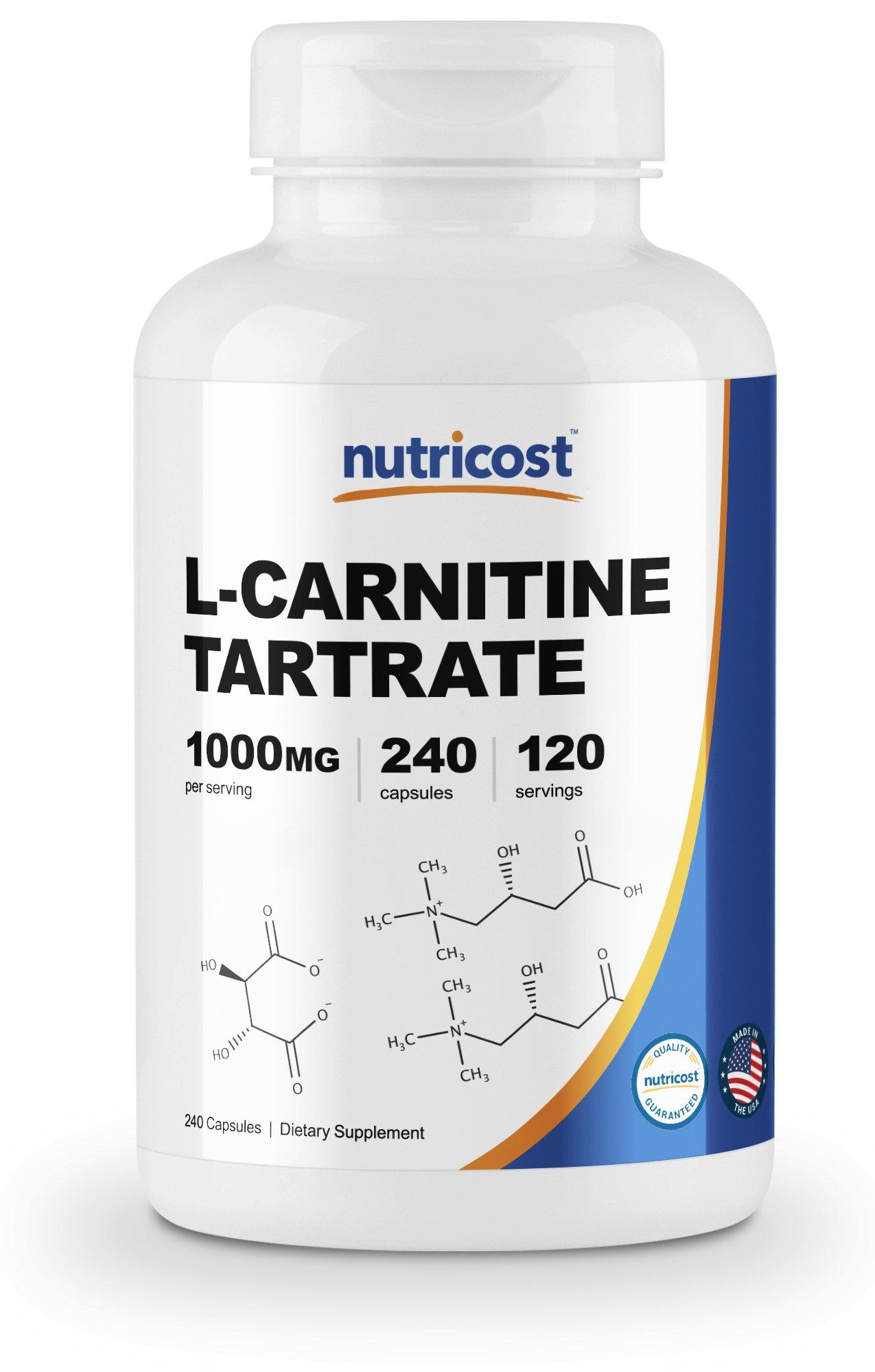 Nutricost L-Carnitine Tartrate 500mg, 240 Capsules - 1000mg per Serving