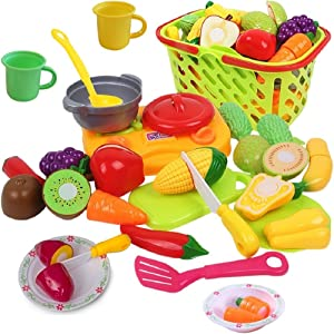 FUNERICA Cutting Fruits and Veggies Toy Set - Kids Play Food Pretend Kitchen Toy Set with Cutting Play Food, Grocery Shopping Basket, Small Cooking Top, Pot with Cover, Dishes, and Utensils