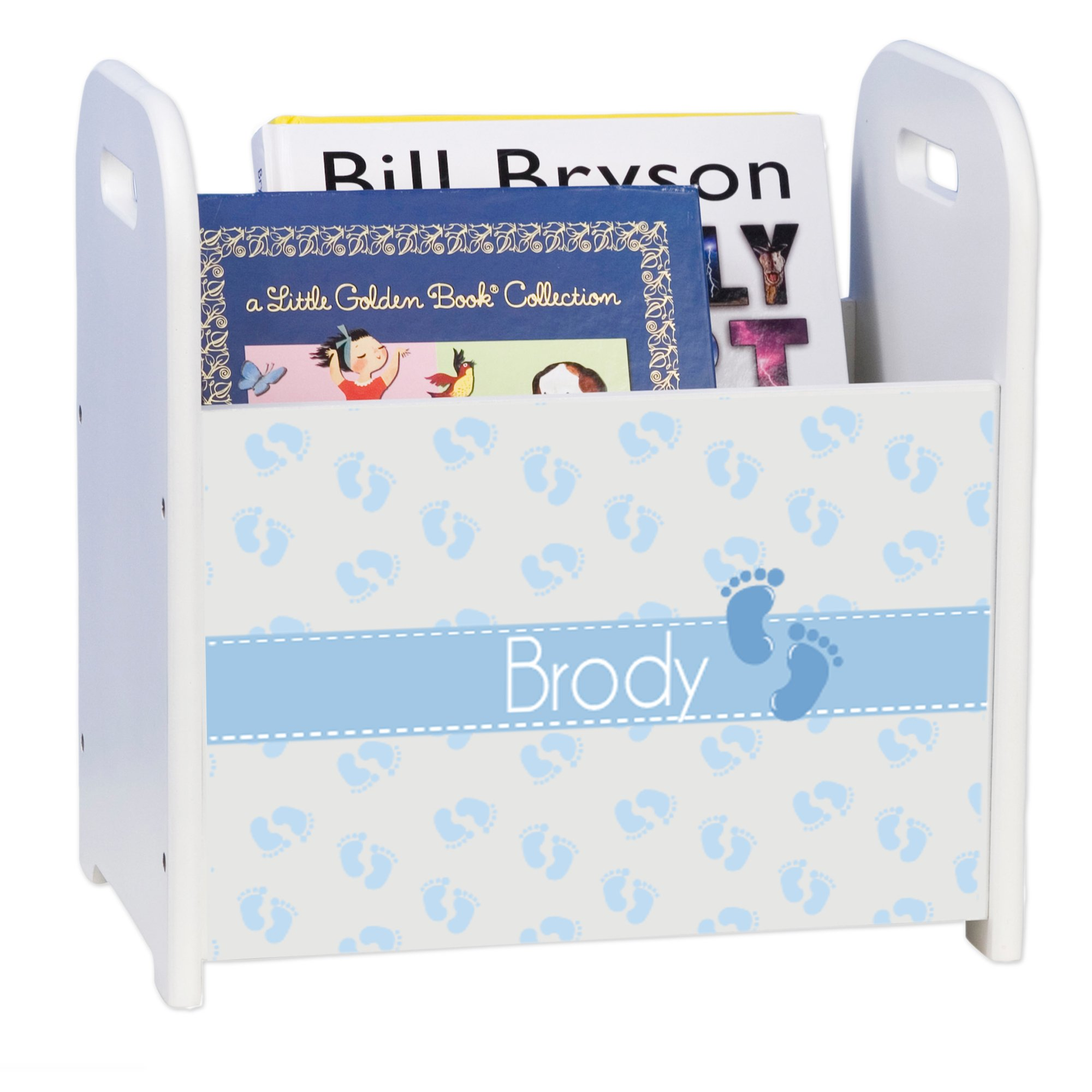 Personalized Baby Prints Blue White Book Caddy and Rack