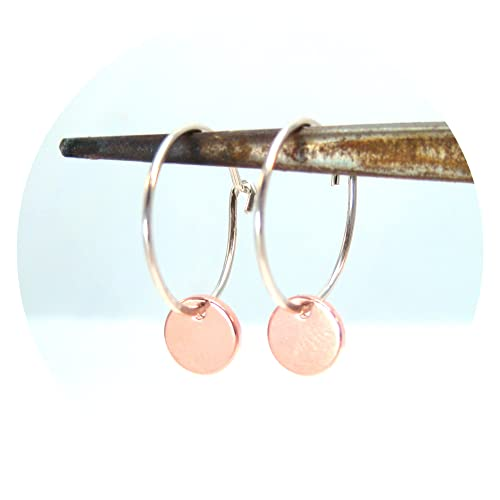 bca110226 Amazon.com: Silver and Rose Gold Hoops Mixed Metal Earrings: Handmade