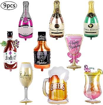 Comius Palloncini Champagne Giganti Gonfiabile Pallone della Stagnola per Festa Nuziale Decorazione 5Pcs Foglio di Alluminio Palloncino Bottiglia di Vino Champagne
