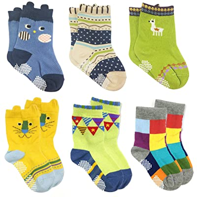 ALLYDREW Peek A Boo Animal Non-Skid Biy's Toddler Socks (Set of 6), Large