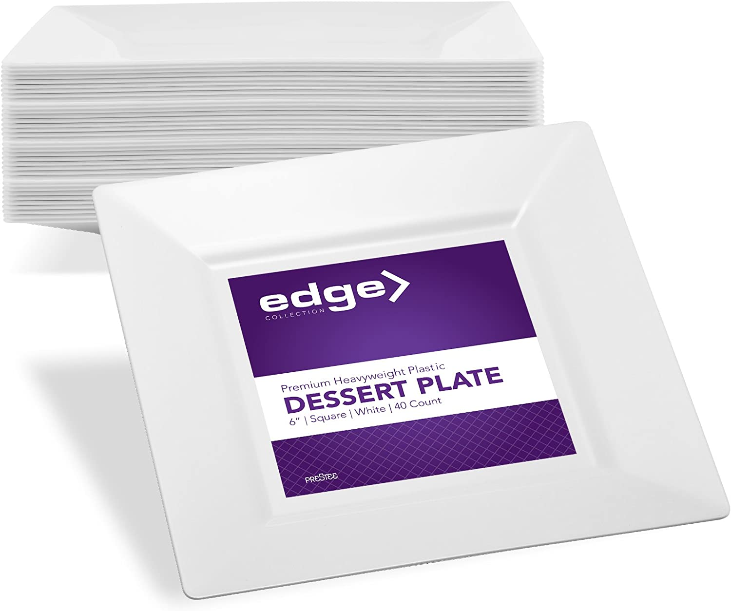 Edge Plates For Parties 6 Inch White Disposable Plastic Party Dessert Plates 40 Ct Hard Square Elegant Fancy Heavy Duty Party Supplies Plates Bridal Holiday Wedding Plates Serving Bowls