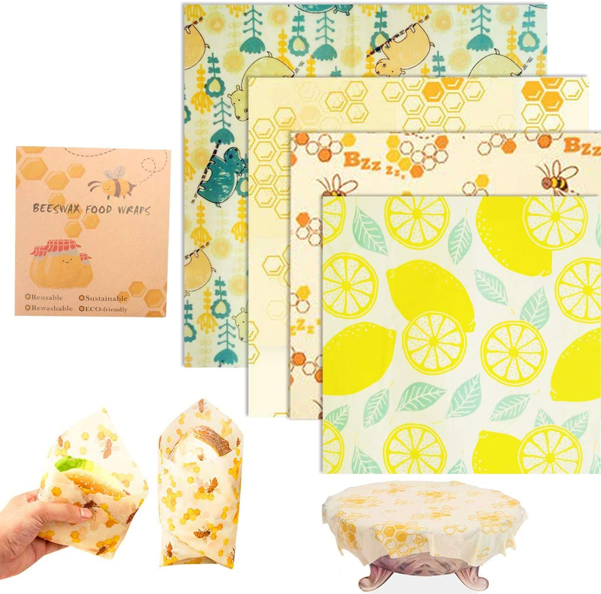 Reusable Beeswax Food Storage Wraps 4 Pack, Eco Friendly Wax Wraps for Food, Healthy Alternative to Saran Wrap - 1 Large, 2 Medium, 1 Small