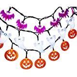 LUCKLED Set of 3 Battery Powered Halloween String Lights, 20 LED Fairy Decorative Lights for Indoor and Outdoor Decorations - White Ghost / Orange Pumpkin / Purple Bat