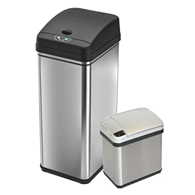 iTouchless Deodorizer Sensor Touchless Stainless Steel Trash Cans (Set of 2), 13 Gallon and 2.5 Gallon
