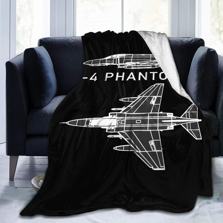XJ-JX F-4 Phantom II Couverture de lit en polaire douce et confortable Micro l/ég/ère antistatique