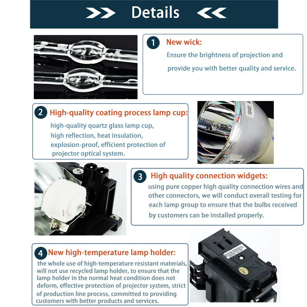 molgoc lmp-c150/Projektor Ersatz Lampe Birne mit Geh/äuse Kompatibel f/ür Sony vpl-cs5//CX5//CS6//CX6//EX1//CS5G