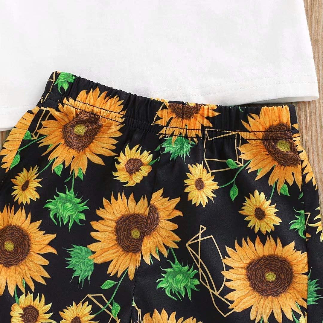 DaceStar Toddler Little Boy Kids Hawaiian Shorts Sleeve Set Summer Outfits Tops Sunflower Print Pants Sets 1-5 Years Boys Clothes