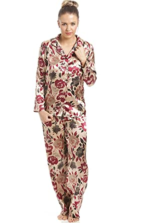 76c1553b46 Camille Womens Red Floral Print Full Length Gold Satin Pyjama Set 10 ...