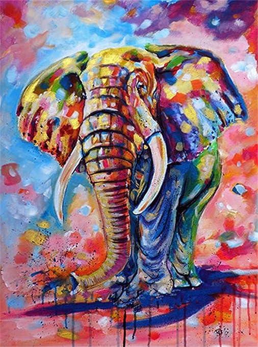 YUMEART Needlework Diamond Drawing Painting by Number Elephant Animals Diamond Dotz Animated Cross Stitch Painting Rhinestones