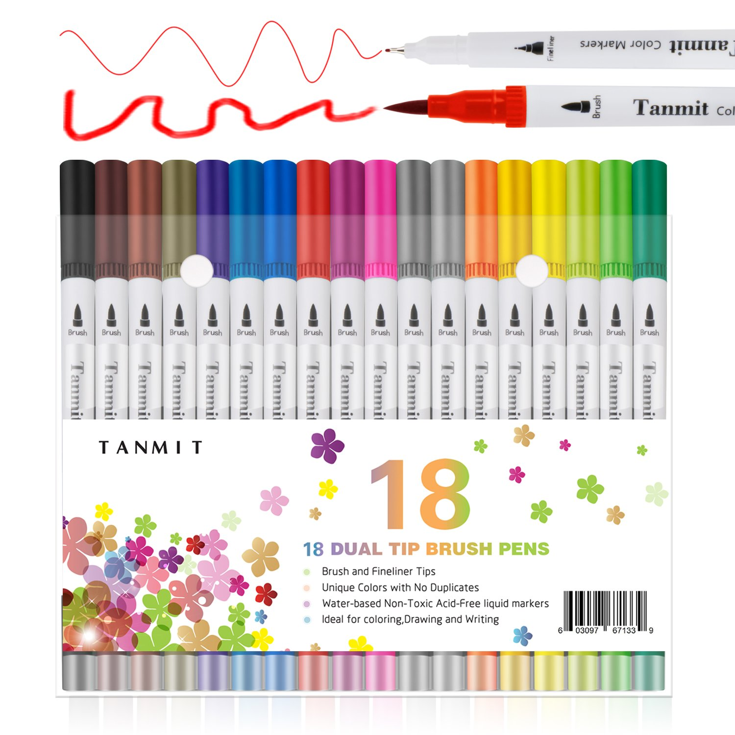 Dual Brush Pens Art Marker Fine Tip, Colored Fine Point Pens Calligraphy Bullet Journal Dual Marker for Adults Coloring Book Writing Drawing Planner Taking Note(18 Colors Art Supplies) DRBP 4336948024