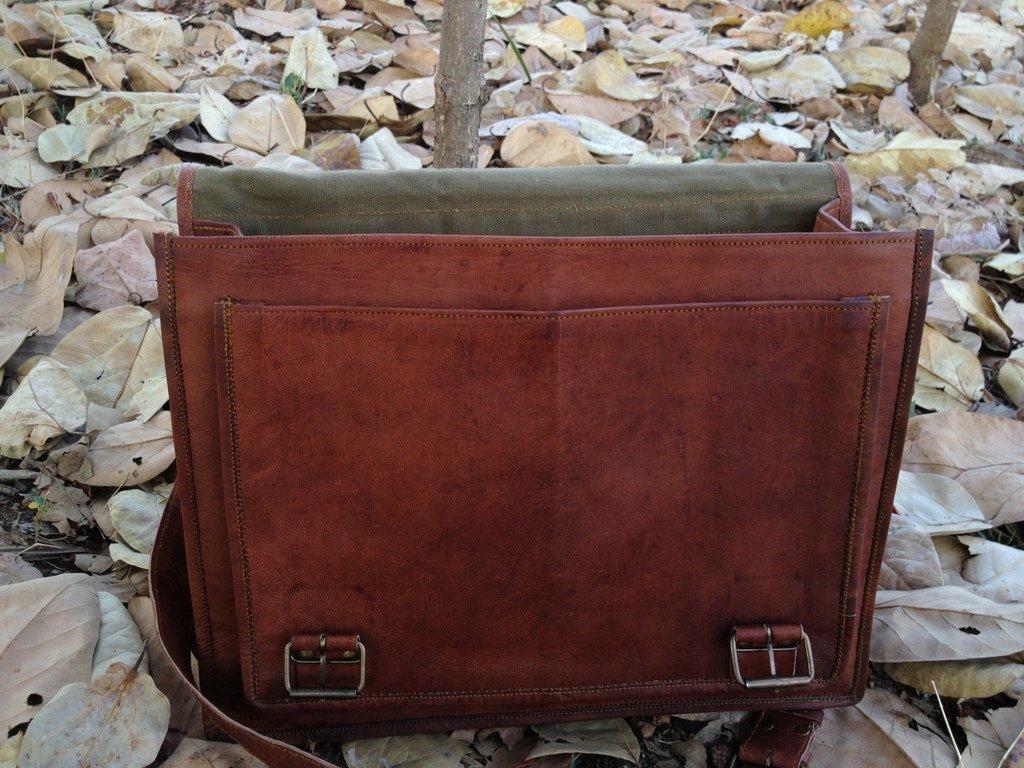 TUZECH Fine Sober Gentlemen Leather Briefcase bag Messenger Bag Laptop Bag 11 Inches by Tuzech (Image #3)