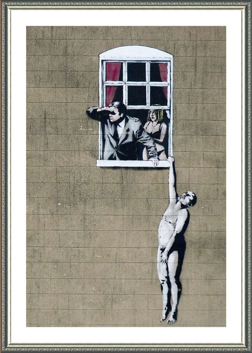 Alonline Art - Naked Man Hanging from Window Banksy Silver Framed Poster (Print on 100% Cotton Canvas on Foam Board) - Ready to Hang | 24''x34'' | Oil Paintings Prints Frame Framed Artwork Framed Decor