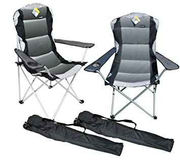 Marko Outdoor 2 X Grey Padded Folding Camping Chairs Fishing